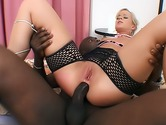 Black cock goes deep in blondes ass