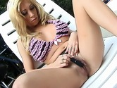 Blond chick rubbing her clit outdoors I Touch Myself