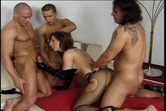 Horny porn-star taking three dicks