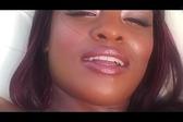 Ebony chick enjoys two ha...