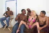 White slut gets black gang bang