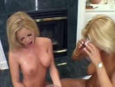 Two blond sluts getting slammed in an orgy