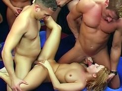 Gang bang blonde whore gets cock in all holes