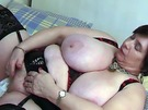 Fat Olga masturbating using her fingers & toys