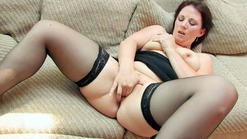 Plump Ann solo in black lingerie