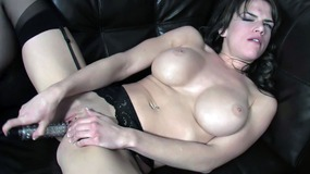 Brooke using dildo to fuck tight twat