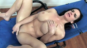 Brooke dildo fucking in chair