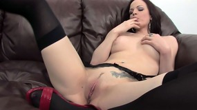 Janessa in living room couch masturbating