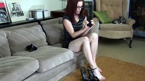 Jenn putting on black nylon stockings