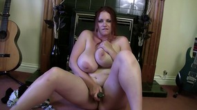Huge tits and dildo action