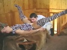 Brunette in Zebra print & matching boots gets her pussy licked & fingered