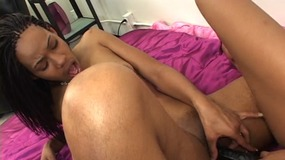 Two lusty young ebony babes have sensual fuck in bed