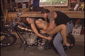 Hot chick with big tits gets laid on the motorcycle