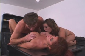 fetish, brunette, cross, dressing, fantasy, threesome, blowjob, big, boobs, cock, sucking, toys, strap, on, doggy, milf