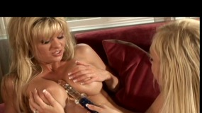 Blonde lesbian MILFs with amazing bodies play with toys
