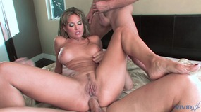 Horny whore gets double  action and the facials in DP 3 way