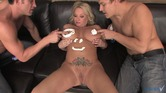 Blonde beauty licks whipped cream off her large tits and got her pussy jammed