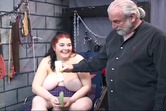 Bdsm restrain bbw dildo fucking on a table by an elderly man Kinkerellas Final Test 816