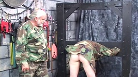 Cute red head babe with a hot ass gets tide up by horny old man