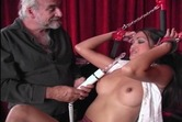 Stunning asian with perfect tits and shaved pussy submits to dildo torture