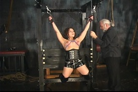 milf,,natural,tits,,corset,,dungeon,,tied,,domination,,ropes,,latex,,nipple,clamps,,suspension,,shaved,pussy,,pussy,clamps
