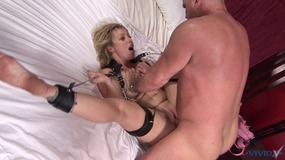 blonde girl with little tits gets strapped to the bed and pussy licked by guy