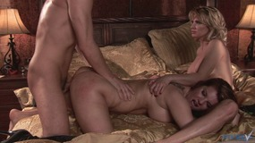 Mature beauty gets her tits threesome...