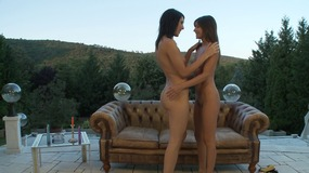 Two hot bimbos decided to play Sapphic games on the veranda right round the house