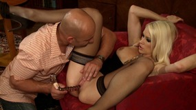 Doting blonde in nylon lingerie eats a fat cock and gets hammered