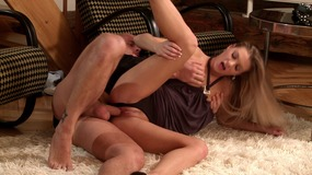blonde gets mouthfucked after riding a strap on
