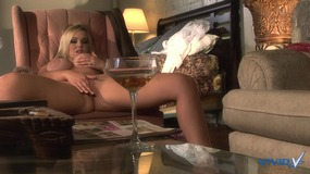 Stunning blonde shows off her pussy and masturbates her clit for the camera
