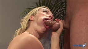 Sexy blonde slut gets on her knees and...