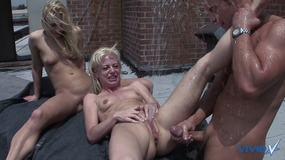 Big dick dude fucks the crapout of two gorgeous bisexual blonde cum sluts