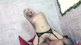 Nice big cum load on the tits for this hot blonde slut after getting fucked