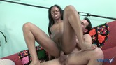 Shaved pussy gorgeous black slut sucks dick and gets fucked in the ass