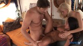 Big dick dude fucks the shit out of two stunning bi sluts on his house boat