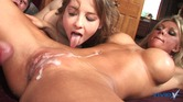 Pussy eating bi girls with amazing bodies get filled up by one hard cock