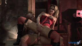 Horny babe gets banged hard by a huge cock on a table