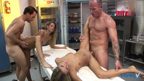 four gorgeous whores with perfect bodies get filled.