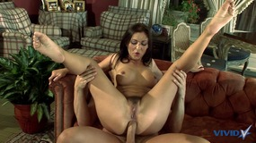 Cum licking dark haired slut gets her perfect pussy filled up with big fat dick