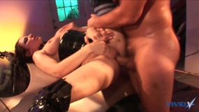 Big cock dude blows a fat load on these two bisexual sluts after fucking them
