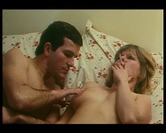 Retro straight couple get dressed & leave room after laying in bed naked