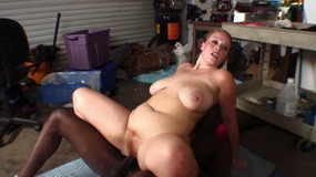Big butt brunette slut sucks and fucks juicy ebony cock hard in garage...