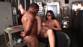 Big ass brunette bitch on factory floor fucking black cock hardcore