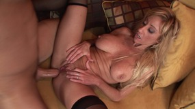 Hot blonde deep throats cock and sucks guys nuts then fucks