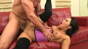 Horny dude gets a BJ before banging  two hot lesbians on a couch