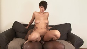 Horny stud getting his huge black cock sucked by erotic babe before a fuck