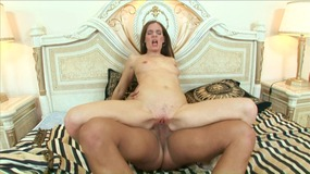 Cock sucking MILF takes dick in her cunt and gets cumshot on belly