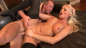 Guy sucks hot babes tits and gets his large cock sucked