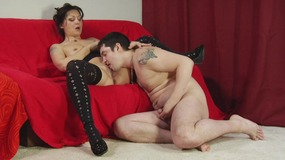 Beautiful brunette slut sucks her man's dick on her knees